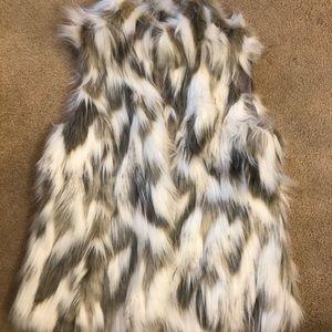 White House black market faux fur vest
